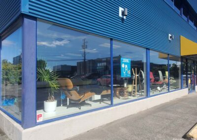 Commercial storefront cleaning and restoration project, pressure washing, window cleaning